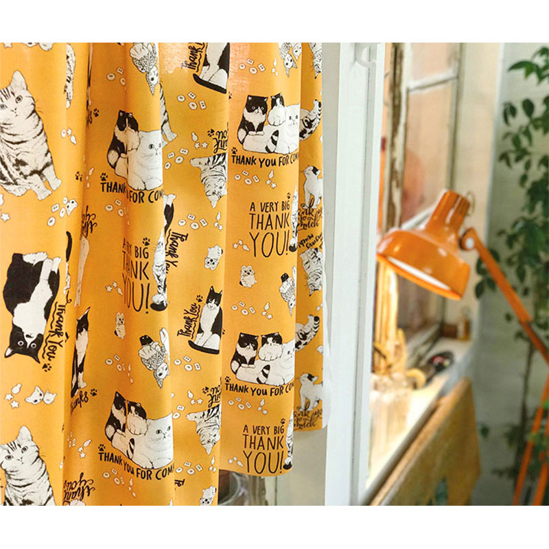 FABRIC - Dollish CATS (BROWN, 110✕45cm)