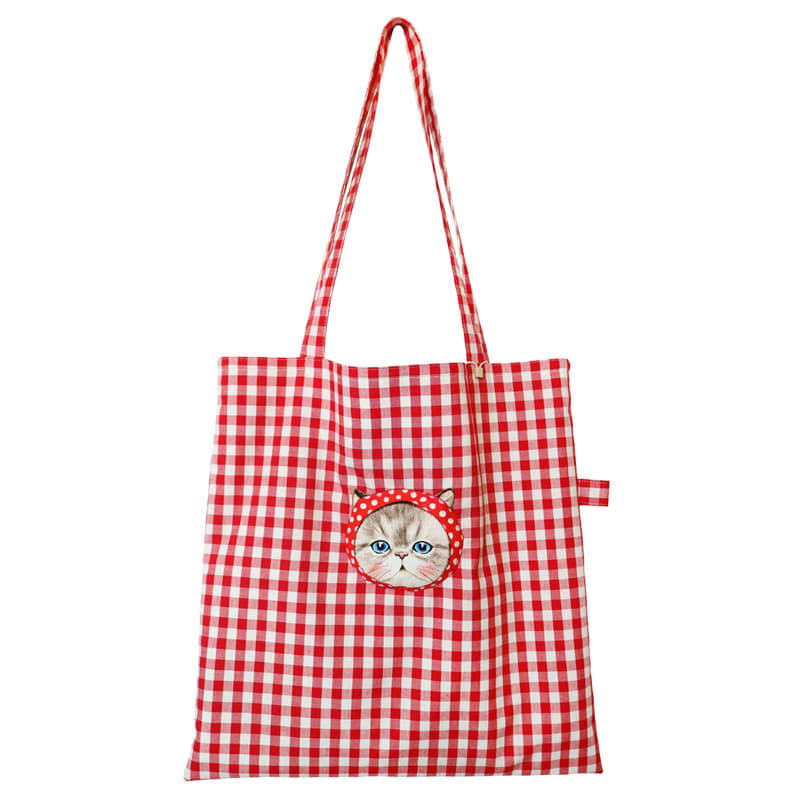Totebag - RUMI on red dots