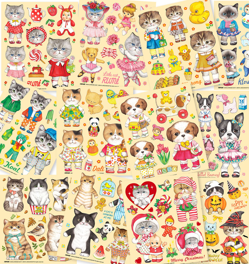 Transparent sheet sticker series 12 types (1 pack = 5 sheets)