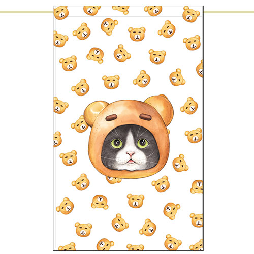 Side curtain - Bear bread cat (51✕81cm)