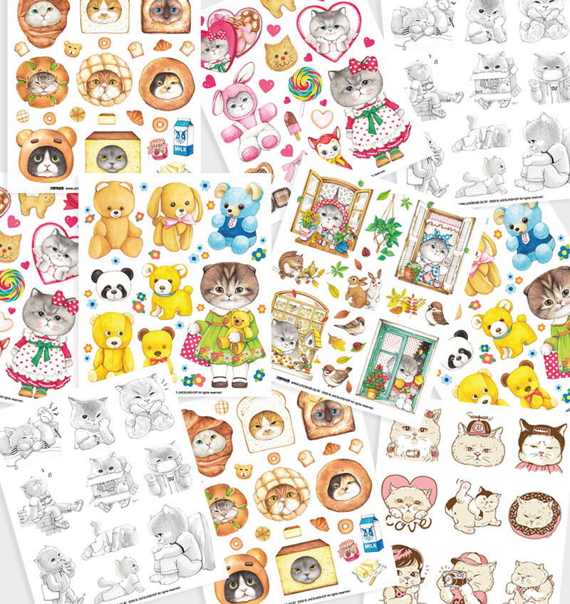 Transparent sticker sheet 6types_Part.2 (1 pack = 5 sheets)